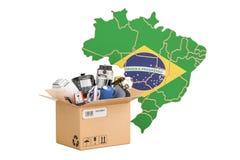生产、家用电器购物和交付  库存例证