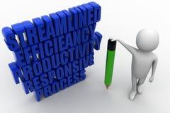 生产力效率流线敏感过程3D措辞思想家 免版税库存图片