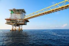 生产油和煤气的近海建筑平台 油和煤气产业和坚苦工作 生产平台和操作 库存图片