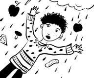 生动描述黑发滑稽的男孩的图画在雨中在可口食物外面 免版税图库摄影