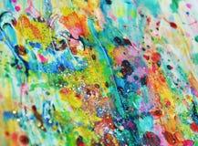 生动的泥五颜六色的被弄脏的橙色蜡察觉生动的水彩油漆,五颜六色的颜色 库存图片