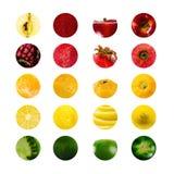 生动的水果和蔬菜拼贴画,空白为健康食物编辑 图库摄影