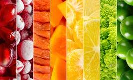 生动的水果和蔬菜拼贴画,空白为健康食物编辑 免版税库存照片