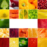 生动的水果和蔬菜拼贴画,空白为健康食物编辑 免版税图库摄影