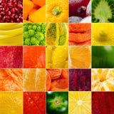 生动的水果和蔬菜拼贴画,空白为健康食物编辑 免版税库存图片