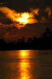 生动美好的佛罗里达的日落 免版税库存照片