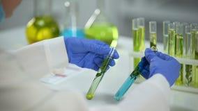 生化学家管的植物与绿色和蓝色液体,防腐剂比较 股票视频