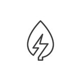 生叶与雷电线象,概述传染媒介标志,在白色隔绝的线性样式图表 免版税库存图片