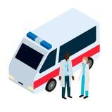 医生和护士在救护车附近 免版税库存照片