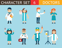 医生和护士字符Madical象集合 免版税库存图片