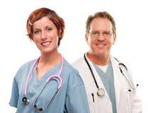 医生和护士白色背景的 免版税库存照片