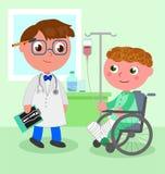 医生和年轻患者轮椅传染媒介的 图库摄影