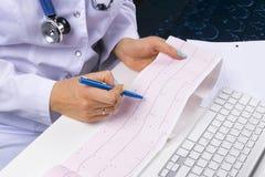 医生工作场所 心电图, ecg在手中有ekg座标图纸的一位女性医生在医院有计算机的办公室室, 免版税图库摄影