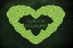 生态和绿色经济,心脏由叶子制成 免版税库存照片