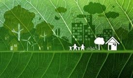 生态在新绿色叶子背景的构思设计 免版税库存照片