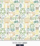 生态墙纸 绿色能量被连接的无缝的样式 免版税库存照片