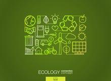 生态抽象背景,联合稀薄的线标志 免版税库存照片