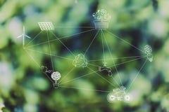 生态有关的标志网络由破折线连接 图库摄影