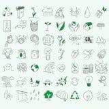生态有机标志eco和生物元素在手中 图库摄影