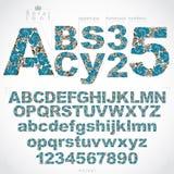 生态样式用花装饰的字体和数字,被排版的传染媒介 库存照片