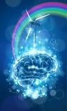 生态概念:脑子、彩虹&风车 库存图片