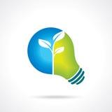 生态电灯泡-与自然概念的例证 库存照片