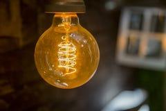 生态电灯电灯泡在庭院里 免版税库存图片
