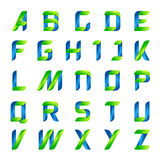生态英语字母表在绿色和蓝色上写字 库存图片