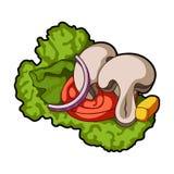 生态菜沙拉 素食主义者的沙拉 蔬菜菜肴在动画片样式传染媒介标志库存选拔象 免版税库存照片