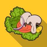 生态菜沙拉 素食主义者的沙拉 蔬菜菜肴在平的样式传染媒介标志库存选拔象 免版税库存照片