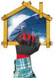 生态议院项目有太阳电池板的 库存图片