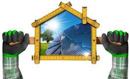 生态议院项目有太阳电池板的 库存照片