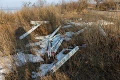 生态问题,灾害 萤光汞灯犯罪处置, E废物 危机生态学环境照片污染 生态罪行 免版税库存图片