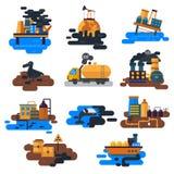生态问题:水,地球,空气,砍伐森林,动物传染媒介的破坏的环境污染 库存例证