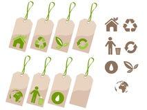 生态集合标签 免版税库存照片