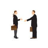 生意人二 男人和妇女 信号交换 库存例证