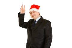 生意人克劳斯友好帽子圣诞老人年轻&# 库存照片