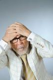 生意人前辈强调 免版税库存图片