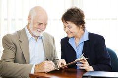 生意人前辈签名 免版税库存照片
