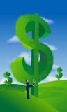 生意人剪切货币结构树 免版税库存照片