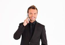 生意人友好电话联系 免版税库存图片