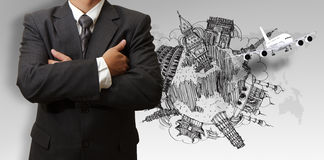 生意人和梦想旅行环球 免版税库存图片