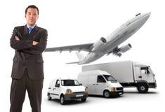 生意人和运输采购管理系统 库存照片