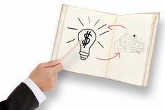 生意人图画挣货币的现有量想法 免版税库存照片