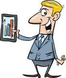 生意人图表愉快的片剂 免版税库存图片