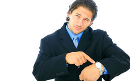 生意人失望的男性年轻人 免版税库存照片