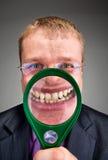 生意人愉快放大器微笑 免版税库存照片