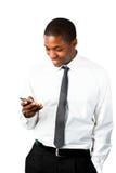 生意人愉快的消息移动接受通过 免版税库存照片