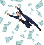 生意人成功的年轻人 事业 利润 收入 落从天空的硬币和票据 10 eps 免版税库存图片