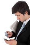 生意人拿着移动电话的看板卡赊帐 免版税图库摄影